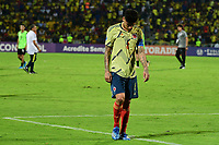 BUCARAMANGA - COLOMBIA, 09-02-2020: Jorge Carrascal de Colombia luce decepcionado después del partido entre Colombia U-23 y Uruguay U-23 por el cuadrangular final como parte del torneo CONMEBOL Preolímpico Colombia 2020 jugado en el estadio Alfonso Lopez en Bucaramanga, Colombia. / Jorge Carrascal of Colombia looks disappointed after the match between Colombia U-23 and Uruguay U-23 of for the final quadrangular as part of CONMEBOL Pre-Olympic Tournament Colombia 2020 played at Alfonso Lopez stadium in Bucaramanga, Colombia. Photo: VizzorImage / Julian Medina / Cont