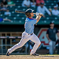 23 June 2019: New Hampshire Fisher Cats infielder Vinny Capra in action against the Trenton Thunder at Northeast Delta Dental Stadium in Manchester, NH. The Thunder defeated the Fisher Cats 5-2 in Eastern League play. Mandatory Credit: Ed Wolfstein Photo *** RAW (NEF) Image File Available ***
