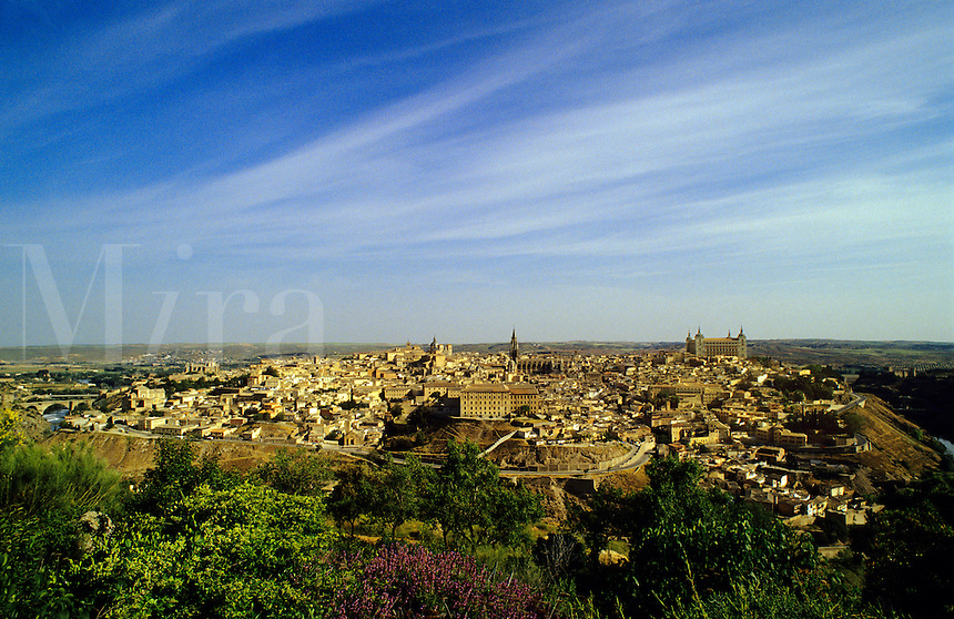 Spain.  Castile La Mancha.  The historic city of Toledo, constructed on a hill in the bend of the River Tagus/Tajo..