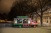 Closed food truck in central Oslo. Like most capitals, Oslo is usually busy on a Saturday night. But on the first weekend after Norwegian authorites  introduced measures to combat the Coronavirus (COVID-19) the city was almost deserted. <br />