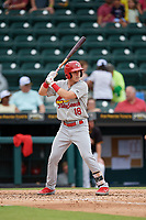 Palm Beach Cardinals Zach Kirtley (18) at bat during a Florida State League game against the Bradenton Marauders on May 10, 2019 at LECOM Park in Bradenton, Florida.  Bradenton defeated Palm Beach 5-1.  (Mike Janes/Four Seam Images)