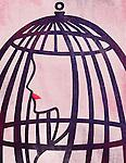 Illustrative image of woman in cage representing bondage