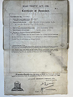 BNPS.co.uk (01202) 558833.<br /> Pic: HenryAldridge&Son/BNPS<br /> <br /> Oh yes!<br /> <br /> A car insurance certificate issued to Sir Winston Churchill 90 years ago has sold for £2,000.<br /> <br /> It gave the future Prime Minister permission to drive his Wolseley Landaulette between January 1 and June 28 in 1931.<br /> <br /> The one-page document, issued by the Alliance Assurance Company Ltd, is in the name of 'The Right Honourable Winston Churchill MP'.<br /> <br /> It records his car registration number YP 4107 but does not disclose the cost of his insurance.