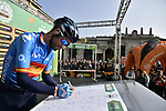 Spanish Champion Alejandro Valverde (ESP) Movistar Team at sign on before the 113th edition of Il Lombardia 2019 running 243km from Bergamo to Como, Italy. 10th Octobre 2019. <br /> Picture: Marco Alpozzi/LaPresse | Cyclefile<br /> <br /> All photos usage must carry mandatory copyright credit (© Cyclefile | LaPresse/Marco Alpozzi)