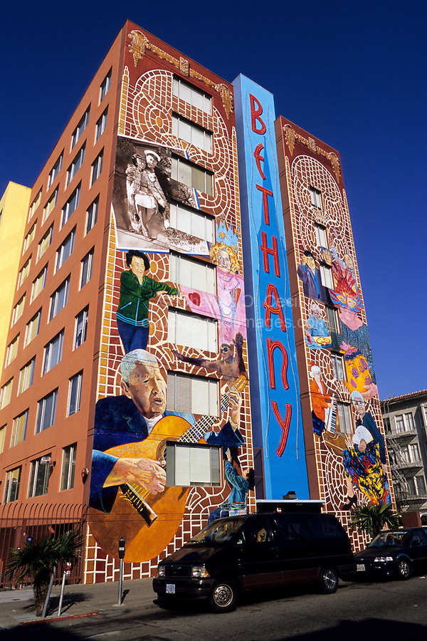 San Francisco, California - Mural by Dan Fontes, Mission District, on Assisted Living Facility.