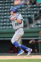 Outfielder Fred Ford (19) of the Lexington Legends in a game against the Greenville Drive on Sunday, August 18, 2013, at Fluor Field at the West End in Greenville, South Carolina. Ford is the No. 23 prospect of the Kansas City Royals. Greenville won Game 2 of a doubleheader, 1-0. (Tom Priddy/Four Seam Images)