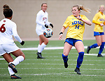 BROOKINGS, SD - MARCH 14: Reagan Anderson #14 from South Dakota State tries to control the ball against Denver during their match at Dana J. Dykhouse Stadium on March 14, 2021 in Brookings, South Dakota. (Photo by Dave Eggen/Inertia)
