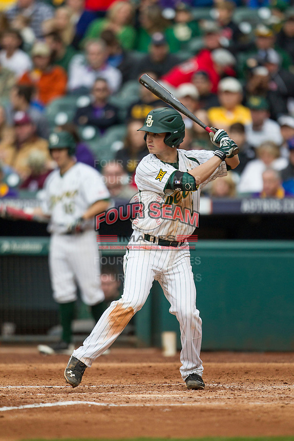 Baylor Bears shortstop Justin Arrington (1) at bat during the NCAA baseball game against the LSU Tigers on March 7, 2015 in the Houston College Classic at Minute Maid Park in Houston, Texas. LSU defeated Baylor 2-0. (Andrew Woolley/Four Seam Images)