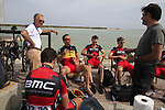 BMC Racing Team riders including Belgian Champion Philippe Gilbert (BEL) relax before the start of Stage 4 of the 2012 Tour of Qatar from Al Thakhira to Madinat Al Shamal, Qatar. 8th February 2012.<br /> (Photo Eoin Clarke/Newsfile)