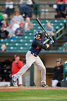 Scranton/Wilkes-Barre RailRiders center fielder Jake Cave (19) at bat during the first game of a doubleheader against the Rochester Red Wings on August 23, 2017 at Frontier Field in Rochester, New York.  Rochester defeated Scranton 5-4 in a game that was originally started on August 22nd but was was postponed due to inclement weather.  (Mike Janes/Four Seam Images)