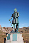 village de Qassiarsuk et ruines viking sur le site de Brattahlid. Statue d'Erik Le Rouge