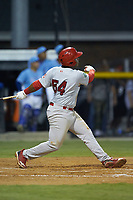 Malcom Nunez (54) of the Johnson City Cardinals follows through on his swing against the Burlington Royals at Burlington Athletic Stadium on September 3, 2019 in Burlington, North Carolina. The Cardinals defeated the Royals 7-2 to even Appalachian League Championship series at one game a piece. (Brian Westerholt/Four Seam Images)