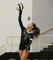 Trinity Hamilton (3) of Bentonville serving on Thursday, Oct.  7, 2021, during play at Tiger Arena in Bentonville. Visit nwaonline.com/211008Daily/ for today's photo gallery.<br /> (Special to the NWA Democrat-Gazette/David Beach)