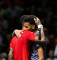 Rotterdam, The Netherlands, 16 Februari 2020, ABNAMRO World Tennis Tournament, Ahoy,<br /> Mens Single Final: Gaël Monfils (FRA) (L) gets a hug from  Felix Auger-Alissime (CAN), Monfils won the tournament<br /> Photo: www.tennisimages.com