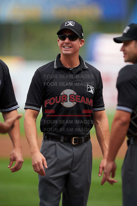 Umpire Shane Livensparger before a game between the Pawtucket Red Sox and Syracuse Chiefs on July 6, 2015 at NBT Bank Stadium in Syracuse, New York.  Syracuse defeated Pawtucket 3-2.  (Mike Janes/Four Seam Images)