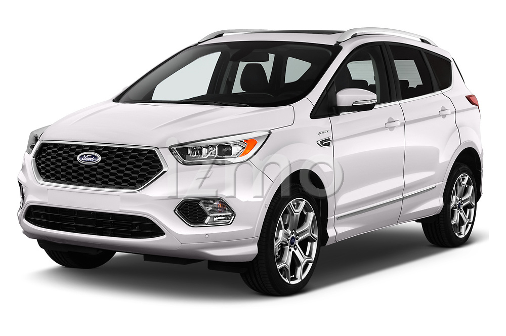2017 Ford Kuga Vignale 5 Door SUV angular front stock photos of front three quarter view