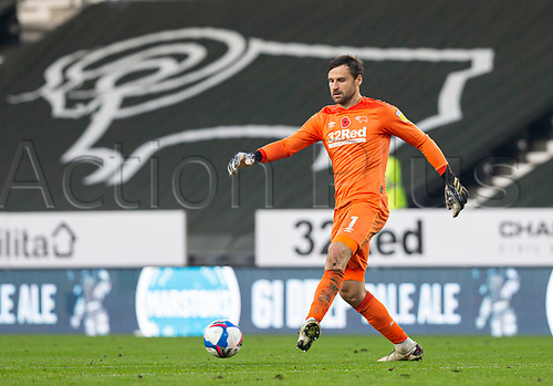 7th November 2020; Pride Park, Derby, East Midlands; English Football League Championship Football, Derby County versus Barnsley; Derby County Goalkeeper David Marshall clears the ball forward out of his goal area