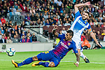 David Lopez Silva (back) of RCD Espanyol fights for the ball with Jose Paulo Bezerra Maciel Junior, Paulinho, (front) of FC Barcelona during the La Liga match between FC Barcelona vs RCD Espanyol at the Camp Nou on 09 September 2017 in Barcelona, Spain. Photo by Vicens Gimenez / Power Sport Images