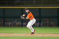 AZL Giants shortstop Nico Giarratano (9) prepares to make a throw to first base against the AZL Rangers on September 4, 2017 at Scottsdale Stadium in Scottsdale, Arizona. AZL Giants defeated the AZL Rangers 6-5 to advance to the Arizona League Championship Series. (Zachary Lucy/Four Seam Images)