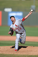Salt River Rafters pitcher Anthony Ferrara (26), of the St. Louis Cardinals organization, during an Arizona Fall League game against the Surprise Saguaros on October 14, 2013 at Surprise Stadium in Surprise, Arizona.  Salt River defeated Surprise 3-2.  (Mike Janes/Four Seam Images)