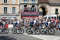 Team Israel Start-Up Nation rolling through town<br /> <br /> Stage 7 from Vierzon to Le Creusot (249km)<br /> 108th Tour de France 2021 (2.UWT)<br /> <br /> ©kramon