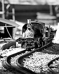 Black and white image of a G guage locomotive