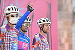 Maglia Azzurra Ruben Guerreiro (POR) EF Pro Cycling at sign on before the start of Stage 10 of the 103rd edition of the Giro d'Italia 2020 running 177km from Lanciano to Tortoreto, Italy. 13th October 2020.  <br /> Picture: LaPresse/Massimo Paolone | Cyclefile<br /> <br /> All photos usage must carry mandatory copyright credit (© Cyclefile | LaPresse/Massimo Paolone)