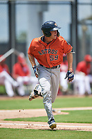GCL Astros James Nix (59) runs to first base during a Gulf Coast League game against the GCL Nationals on August 9, 2019 at FITTEAM Ballpark of the Palm Beaches training complex in Palm Beach, Florida.  GCL Nationals defeated the GCL Astros 8-2.  (Mike Janes/Four Seam Images)