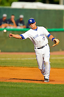 Bluefield Blue Jays third baseman Matthew Dean #9 makes a throw to first base against the Pulaski Mariners at Bowen Field on July 1, 2012 in Bluefield, West Virginia.  The Mariners defeated the Blue Jays 4-3.  (Brian Westerholt/Four Seam Images)