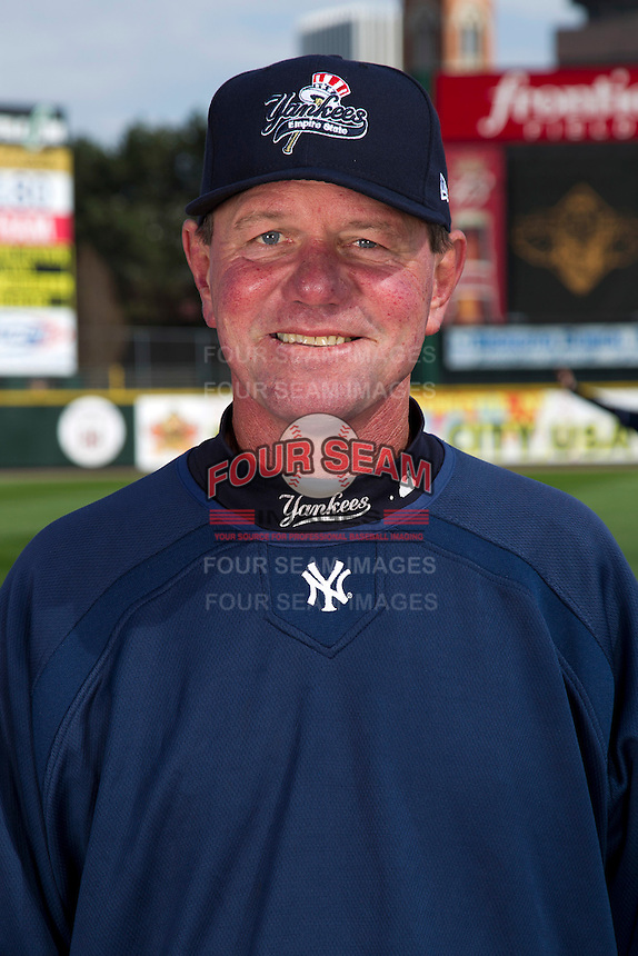 Scranton Wilkes-Barre Yankees manager Dave Miley poses for a photo during media day at Frontier Field on April 3, 2012 in Rochester, New York.  (Mike Janes/Four Seam Images)