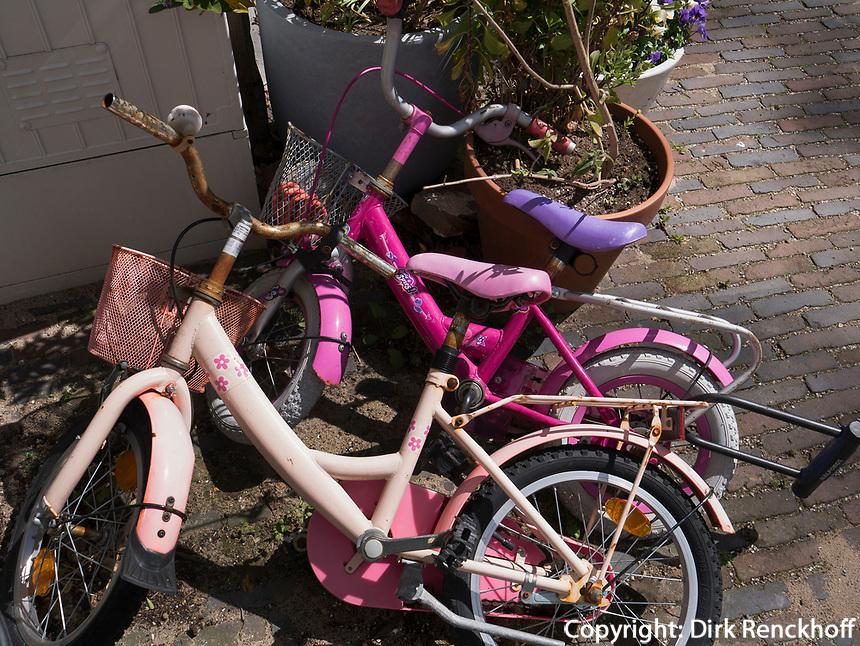 Fahrräder und  Blumentöpfe in Amsterdam, Provinz Nordholland, Niederlandebicycles and flowerpots, Amsterdam, Province North Holland, Netherlands