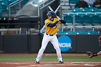 UNCG Spartans designated hitter Sam Koruschak (17) at bat against the San Diego State Aztecs at Springs Brooks Stadium on February 16, 2020 in Conway, South Carolina. The Spartans defeated the Aztecs 11-4.  (Brian Westerholt/Four Seam Images)