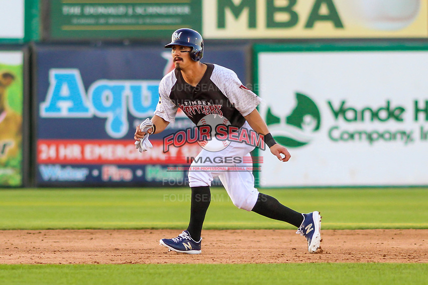Milwaukee Brewers shortstop Tyler Saladino (17) leads off second base during a rehab outing with the Wisconsin Timber Rattlers in a Midwest League game against the Clinton LumberKings on June 29, 2018 at Fox Cities Stadium in Appleton, Wisconsin. Clinton defeated Wisconsin 9-7. (Brad Krause/Four Seam Images)