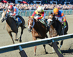 Designer Legs (no. 5), ridden by Shaun Bridgmohan and trained by Dallas Stewart, wins the 97th running of the grade 2 Adirondack Stakes for two year old fillies by disqualification of Who's in Town (no. 4) on August 11, 2013  at Saratoga Race Course in Saratoga Springs, New York.  (Bob Mayberger/Eclipse Sportswire)