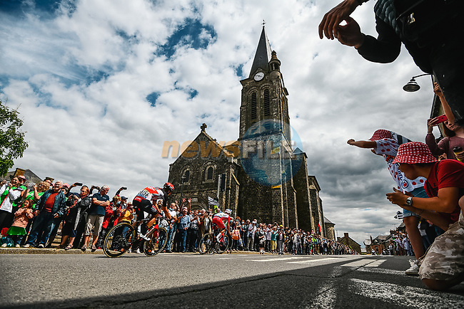 The breakaway with Pierre Luc Perichon (FRA) Cofidis and Brent Van Moer (BEL) Lotto-Soudal during Stage 4 of the 2021 Tour de France, running 150.4km from Redon to Fougeres, France. 29th June 2021.  <br /> Picture: A.S.O./Charly Lopez   Cyclefile<br /> <br /> All photos usage must carry mandatory copyright credit (© Cyclefile   A.S.O./Charly Lopez)