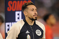 EAST RUTHERFORD, NJ - SEPTEMBER 7: Hector Herrera #16 of Mexico during the presentation of the team during a game between Mexico and USMNT at MetLife Stadium on September 6, 2019 in East Rutherford, New Jersey.