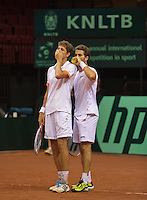 14-sept.-2013,Netherlands, Groningen,  Martini Plaza, Tennis, DavisCup Netherlands-Austria, Doubles,   Jean-Julien Rojer (R) and Robin Haase(NED)<br /> Photo: Henk Koster