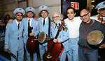 George Abud and David Yazbek with the Alexandria Ceremonial Police Orchestra  during 'The Band's Visit'  Post-Show Jam celebrating the 10 Time Tony Award Winning Best Musical at the Barrymore Theatre on June 12, 2018 in New York City.