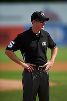 Umpire Ben Levin during the first game of a doubleheader between the Trenton Thunder and Hartford Yard Goats on June 1, 2016 at Sen. Thomas J. Dodd Memorial Stadium in Norwich, Connecticut.  Trenton defeated Hartford 4-2.  (Mike Janes/Four Seam Images)