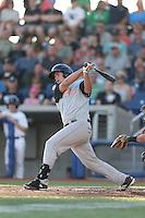 John Riley (25) of the Salem-Keizer Volcanoes bats during a game against the Hillsboro Hops at Ron Tonkin Field on July 27, 2015 in Hillsboro, Oregon. Hillsboro defeated Salem-Keizer, 9-2. (Larry Goren/Four Seam Images)