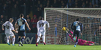 Jon Stead of Notts County scores a penalty past Goalkeeper Matt Ingram of Wycombe Wanderers during the Sky Bet League 2 match between Wycombe Wanderers and Notts County at Adams Park, High Wycombe, England on 15 December 2015. Photo by Andy Rowland.