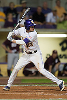 LSU Tigers second baseman JaCoby Jones #23 at the plate against the Mississippi State Bulldogs during the NCAA baseball game on March 16, 2012 at Alex Box Stadium in Baton Rouge, Louisiana. LSU defeated Mississippi State 3-2 in 10 innings. (Andrew Woolley / Four Seam Images)