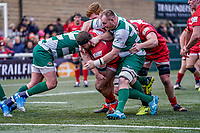 Roy Godfrey of Jersey Reds scores his team's 3rd try during the Championship Cup QF match between Ealing Trailfinders and Jersey Reds at Castle Bar, West Ealing, England  on 22 February 2020. Photo by David Horn.