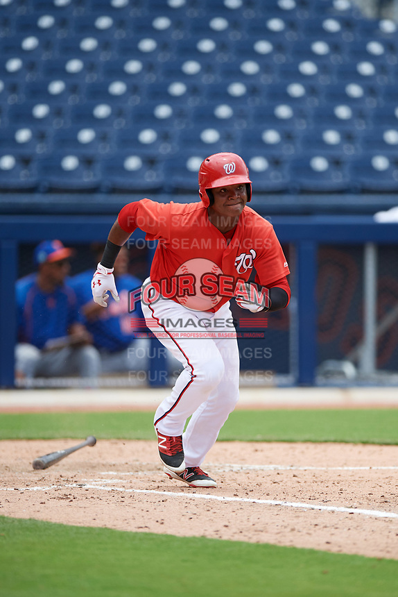 GCL Nationals right fielder Juan Evangelista (2) runs to first base during the second game of a doubleheader against the GCL Mets on July 22, 2017 at The Ballpark of the Palm Beaches in Palm Beach, Florida.  GCL Mets defeated the GCL Nationals 4-1.  (Mike Janes/Four Seam Images)