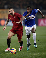 Calcio, Serie A: AS Roma - Sampdoria, Roma, stadio Olimpico, 28 gennaio 2018. <br /> Roma's Aleksandar Kolarov (l) in action with Sampdoria's Duvàn Zapata (r) during the Italian Serie A football match between AS Roma and Sampdoria at Rome's Olympic stadium, January 28, 2018.<br /> UPDATE IMAGES PRESS/Isabella Bonotto