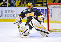 16 November 2008: Merrimack College Warriors' goaltender Andrew Braithwaite, a Junior from Kingston, Ontario, warms up prior to facing the University of Vermont Catamounts at Gutterson Fieldhouse, in Burlington, Vermont. The Catamounts defeated the Warriors 2-1 in front of a near-capacity crowd of 3,813...Mandatory Photo Credit: Ed Wolfstein Photo