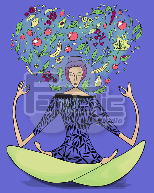 Illustrative image of woman performing yoga exercise with fruits and vegetables against blue background