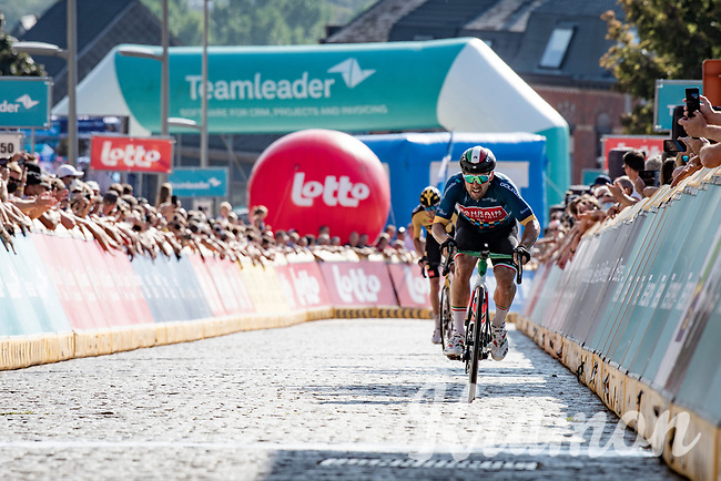 GC leader Sonny Colbrelli (ITA/Bahrain - Victorious) finishing 2nd after teammate (and GC runner-up) Mohoric and securing his overall win as he crosses the finish line with 29 seconds to spare (for the GC).<br /> <br /> 17thBenelux Tour 2021 (2.UWT)<br /> (Final) Stage 7: from Namur to Geraardsbergen (178km)<br /> <br /> ©kramon