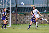 Texas State forward Lynsey Curry (4) defends with a header during NCAA soccer game, Friday, September 12, 2014 in San Marcos, Tex. TCU defeated Texas State 1-0. (Mo Khursheed/TFV Media via AP Images)