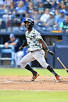 Augusta GreenJackets second baseman Kelvin Beltre (13) swings at a pitch during a game against the Asheville Tourists at McCormick Field on July 15, 2017 in Asheville, North Carolina. The Tourists defeated the GreenJackets 2-1. (Tony Farlow/Four Seam Images)